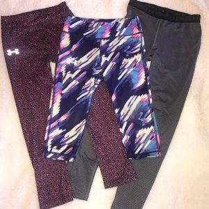 Three pairs of under armor active leggings